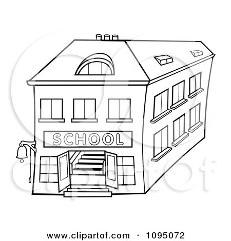 School Building Colouring Pages