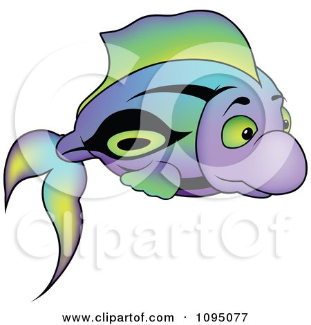 Clipart Colorful Purple Green And Black Fish - Royalty Free Vector Illustration by dero