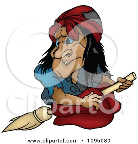 Clipart Creepy Witch Looking Back On Her Broom - Royalty Free Vector Illustration by dero