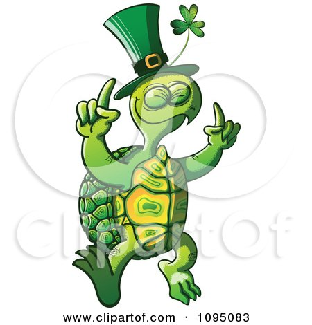 Clipart St Patricks Day Tortoise Dancing - Royalty Free Vector Illustration by Zooco