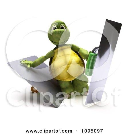 Clipart 3d Tortoise Holding Trowels - Royalty Free CGI Illustration by KJ Pargeter
