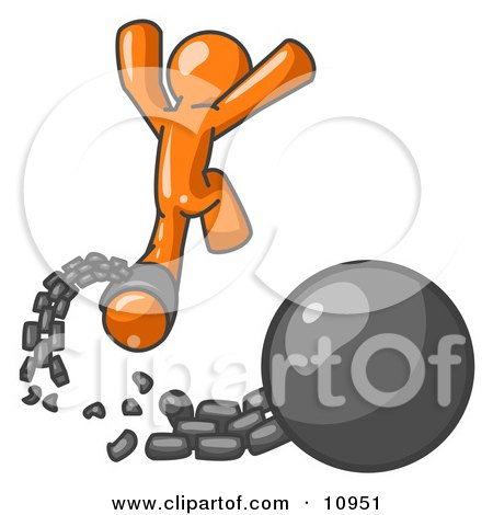 Orange Man Jumping For Joy While Breaking Away From a Ball and Chain, Getting a Divorce, Consolidating or Paying Off Debt Clipart Illustration by Leo Blanchette