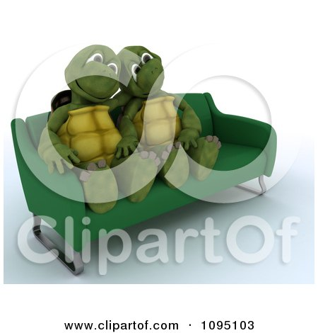 Clipart 3d Tortoise Couple Cuddling On A Sofa - Royalty Free CGI Illustration by KJ Pargeter
