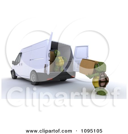 Clipart 3d Tortoises Loading Moving Boxes Into A Van - Royalty Free CGI Illustration by KJ Pargeter