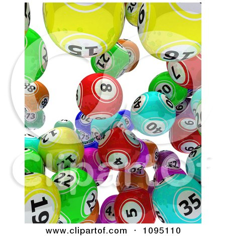 Clipart 3d Colorful Bingo Balls Falling 2 - Royalty Free CGI Illustration by KJ Pargeter