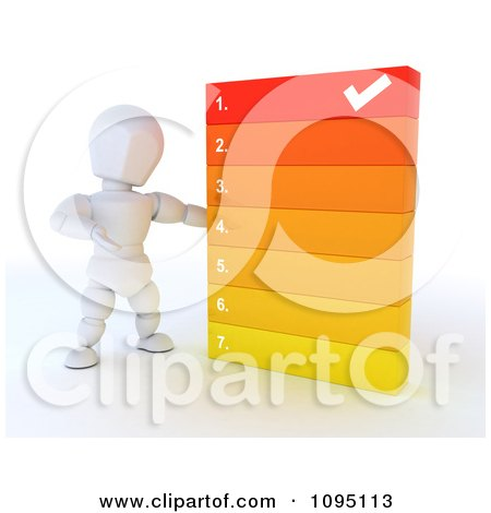 Clipart 3d White Character Going Over A Numbered List - Royalty Free CGI Illustration by KJ Pargeter