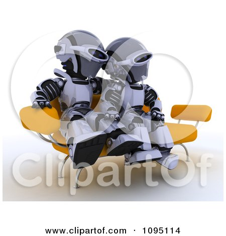 Clipart 3d Robot Couple Cuddling On A Sofa - Royalty Free CGI Illustration by KJ Pargeter