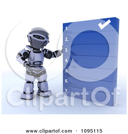 Clipart 3d Robot Going Over A Numbered List - Royalty Free CGI Illustration by KJ Pargeter
