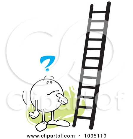 Clipart Contemplating Moodie Character Looking At A Ladder - Royalty Free Vector Illustration by Johnny Sajem