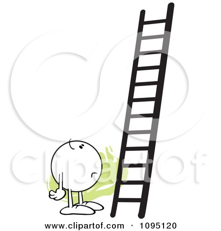 Clipart Doubtful Moodie Character Looking At A Ladder - Royalty Free Vector Illustration by Johnny Sajem