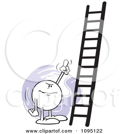 Clipart Moodie Character Pointing At A Ladder - Royalty Free Vector Illustration by Johnny Sajem