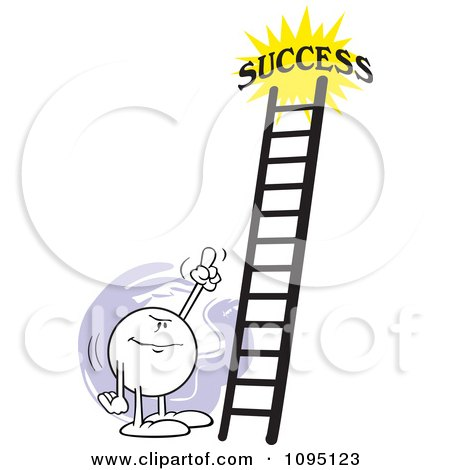 Clipart Moodie Character Pointing At A Ladder To Success - Royalty Free Vector Illustration by Johnny Sajem