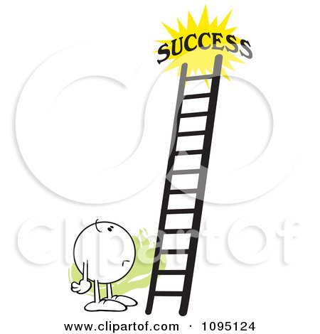 Clipart Doubtful Moodie Character Looking At A Ladder To Success - Royalty Free Vector Illustration by Johnny Sajem