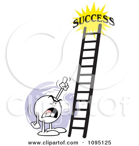 Clipart Bossy Moodie Character Pointing At A Ladder To Success - Royalty Free Vector Illustration by Johnny Sajem