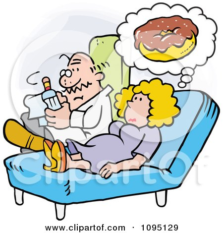 Clipart Woman Talking To Her Therapist About Her Donut Cravings - Royalty Free Vector Illustration by Johnny Sajem