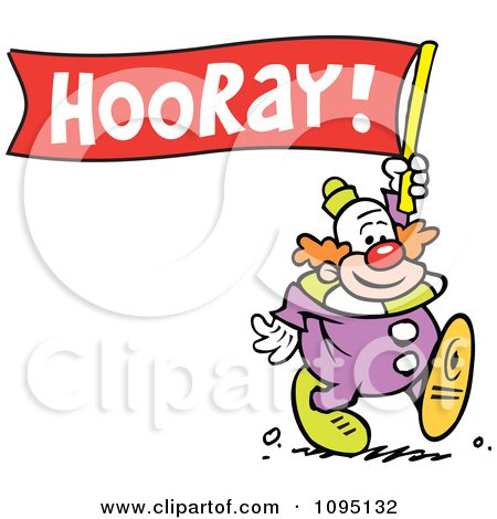 Clipart Clown Carrying A Hooray Banner - Royalty Free Vector Illustration by Johnny Sajem
