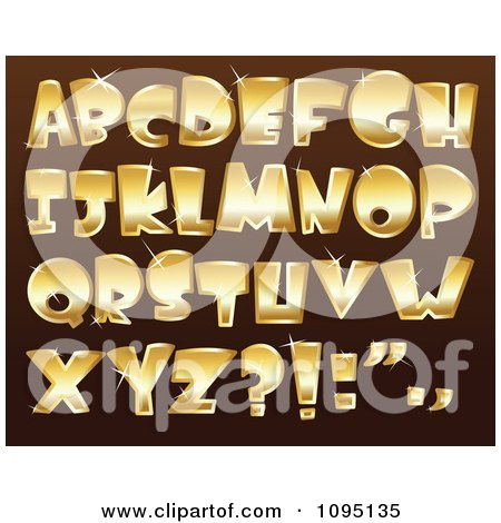 Clipart Sparkly Golden Capital Letters - Royalty Free Vector Illustration by yayayoyo