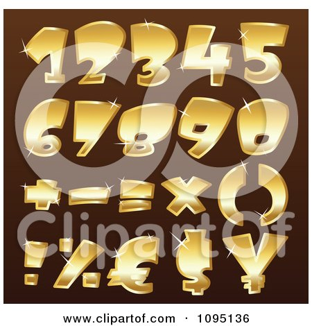 Clipart Sparkly Golden Math Symbols And Numbers - Royalty Free Vector Illustration by yayayoyo