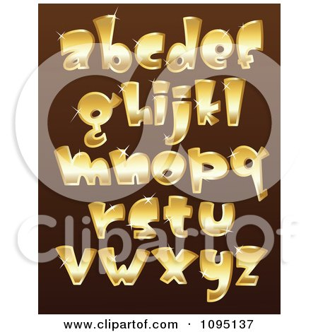 Clipart Sparkly Golden Lowercase Letters - Royalty Free Vector Illustration by yayayoyo