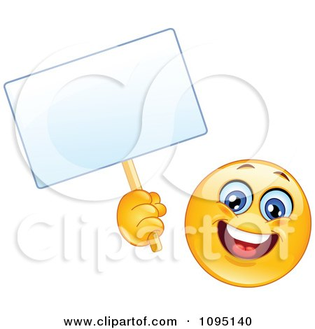 Clipart Happy Emoticon Smiley Face Holding A Blank Sign - Royalty Free Vector Illustration by yayayoyo