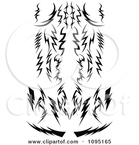 Clipart Black And White Tribal Lightning Bolts Arrows And Designs - Royalty Free Vector Illustration by Chromaco
