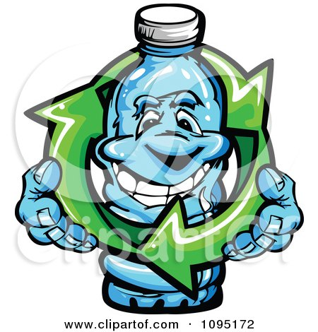 Clipart Happy Water Bottle Mascot Holding Recycle Arrows - Royalty Free Vector Illustration by Chromaco