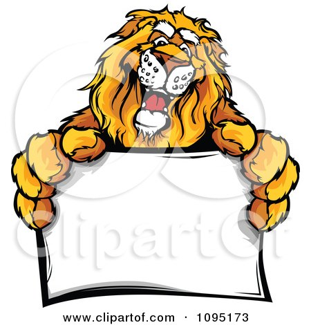 Clipart Friendly Lion Mascot Holding A Sign - Royalty Free Vector Illustration by Chromaco