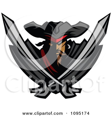 Clipart Tough Pirate Mascot With Two Crossed Swords - Royalty Free Vector Illustration by Chromaco