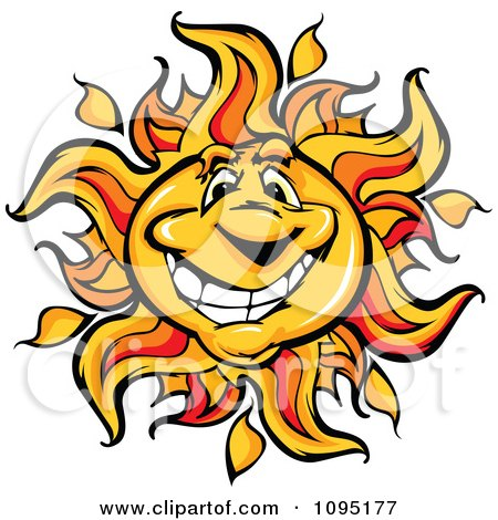 Clipart Friendly Sun Mascot Smiling - Royalty Free Vector Illustration by Chromaco
