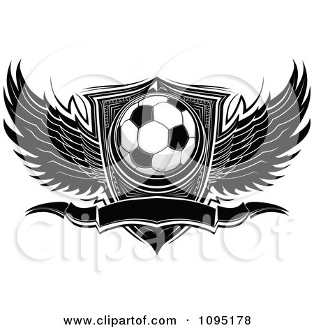 Clipart Black And White Winged Soccer Ball Banner And Shield - Royalty Free Vector Illustration by Chromaco