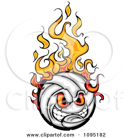 Clipart Aggressive Flaming Volleyball Ball Mascot - Royalty Free Vector Illustration by Chromaco
