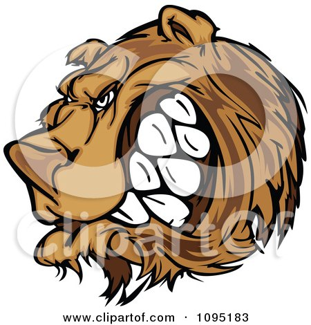 Clipart Angry Growling Bear Mascot Head - Royalty Free Vector Illustration by Chromaco