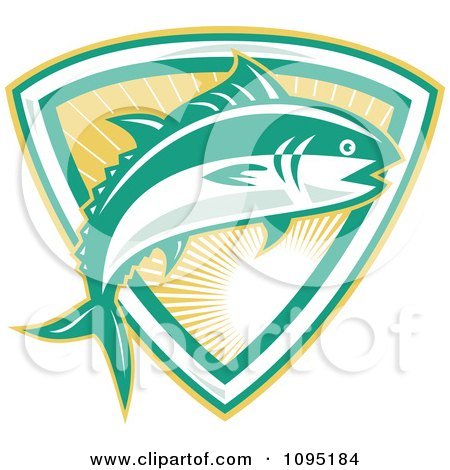 Clipart Retro Bluefin Tuna Fish Jumping Over A Sunshine Shield - Royalty Free Vector Illustration by patrimonio