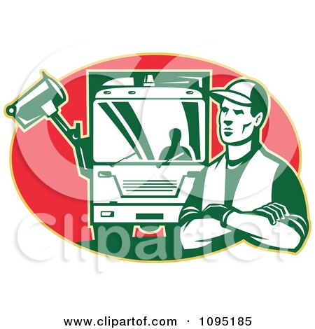 Clipart Retro Garbage Man And Truck Over A Red Oval - Royalty Free Vector Illustration by patrimonio