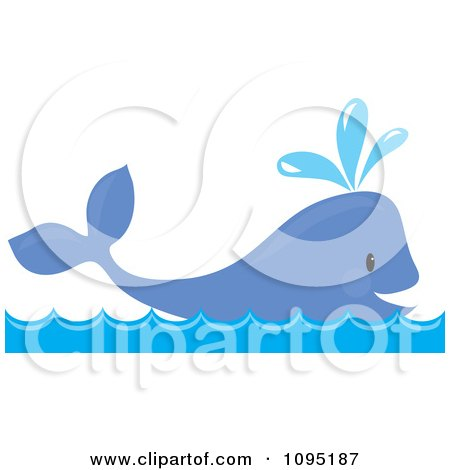Clipart Happy Whale Spouting Water - Royalty Free Vector Illustration by Maria Bell