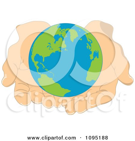 Clipart Globe Held Gently In Human Hands - Royalty Free Vector Illustration by Maria Bell
