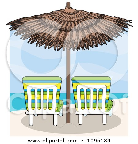 Clipart Beach Lounge Chairs Under A Straw Umbrella Facing Towards The Sea - Royalty Free Vector Illustration by Maria Bell