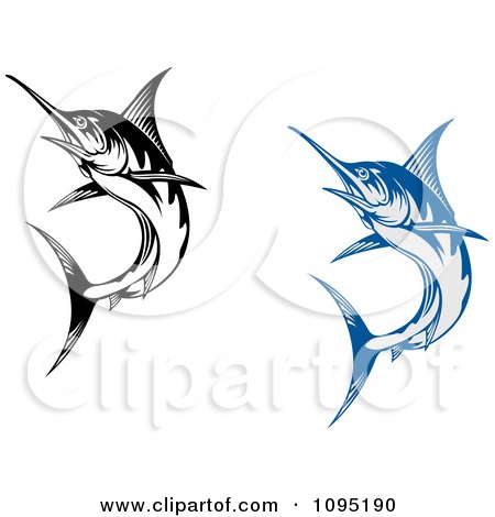 Clipart Blue And Black And White Marlin Fish - Royalty Free Vector ...