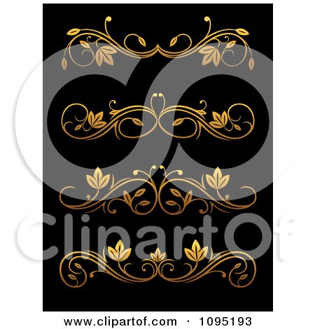 Clipart Golden Flourish Rule And Border Design Elements 9 - Royalty Free Vector Illustration by Vector Tradition SM