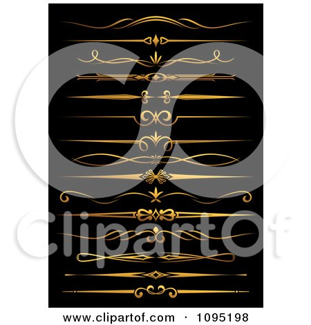 Clipart Golden Flourish Rule And Border Design Elements 8 - Royalty Free Vector Illustration by Vector Tradition SM