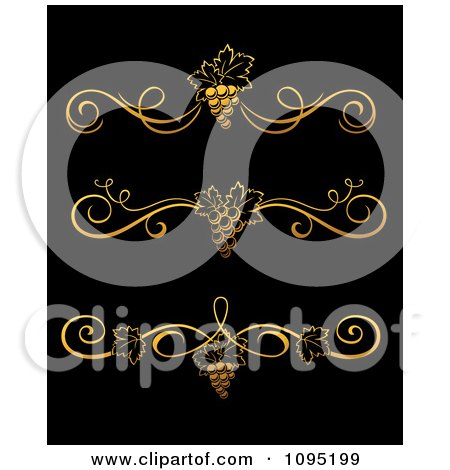 Clipart Golden Grape Vine Divider Rule Design Elements - Royalty Free Vector Illustration by Vector Tradition SM