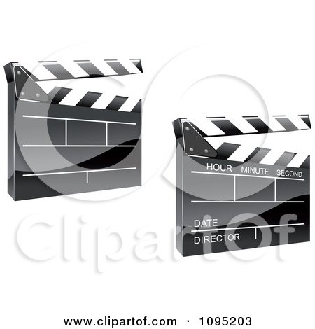 Clipart 3d Shiny Clapper Boards - Royalty Free Vector Illustration by Vector Tradition SM