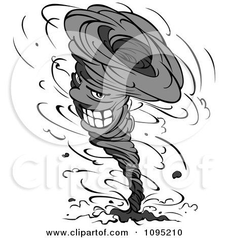 Clipart Grayscale Twister Tornado Character 3 - Royalty Free Vector Illustration by Vector Tradition SM