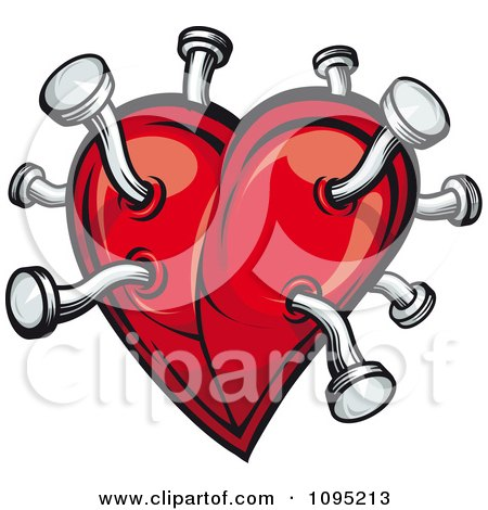 Clipart Red Heart Jabbed With Nails - Royalty Free Vector Illustration by Vector Tradition SM