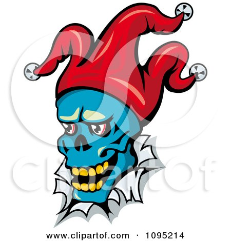 Clipart Blue Joker Face Breaking Through Paper - Royalty Free Vector Illustration by Vector Tradition SM