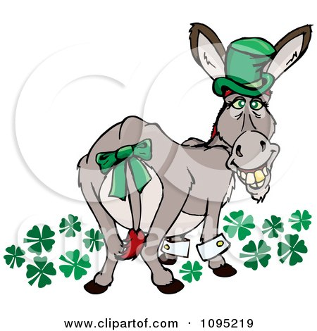 Clipart St Patricks Day Donkey Looking Back With Clovers A Gold Tooth And Hat - Royalty Free Vector Illustration by Dennis Holmes Designs