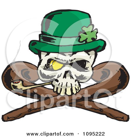 Clipart St Patricks Day Skull With Crossed Canes A Pipe Gold Eye And Leprechaun Hat - Royalty Free Vector Illustration by Dennis Holmes Designs
