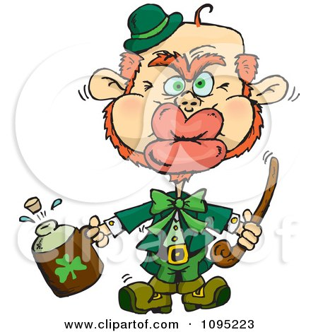 Clipart St Patricks Day Leprechaun Puckering His Lips For A Kiss - Royalty Free Vector Illustration by Dennis Holmes Designs