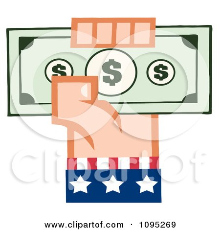 Clipart Caucasian American Hand Holding Up Cash - Royalty Free Vector Illustration by Hit Toon