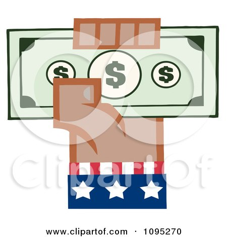 Clipart Black American Hand Holding Up Cash - Royalty Free Vector Illustration by Hit Toon